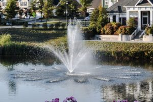 Beautiful aerating pond fountains